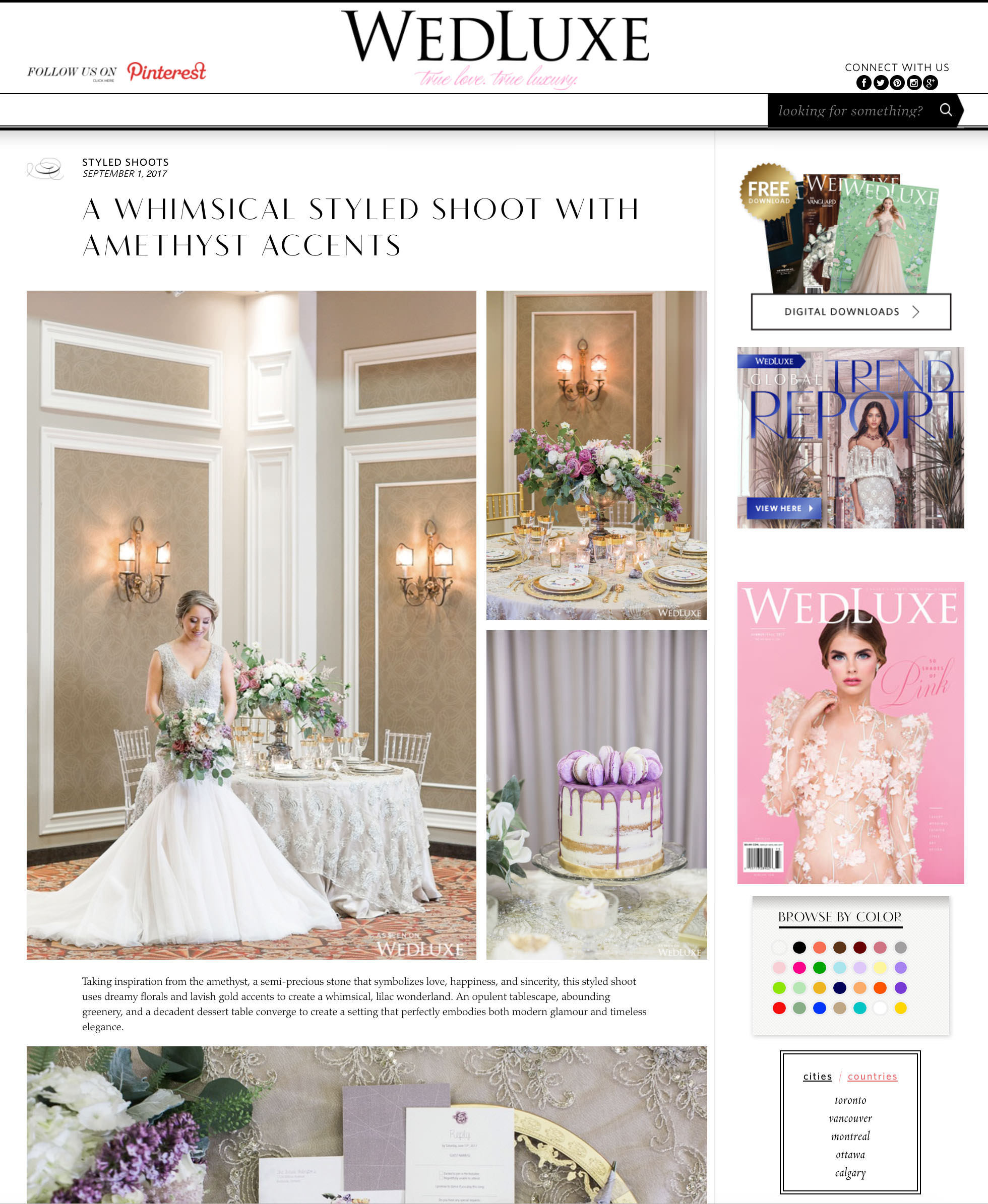 WedLuxe Styled Shoot Feature