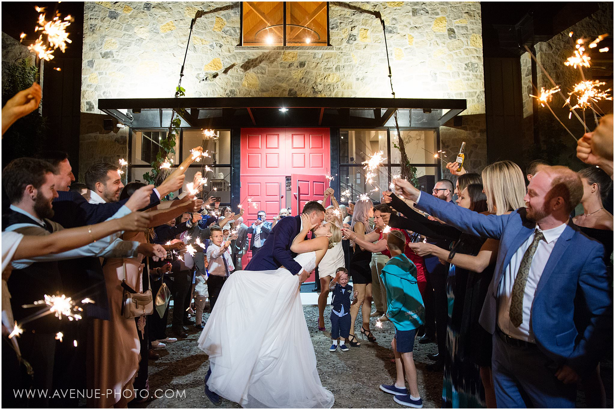 Adamo Estate Winery Wedding Photos, Sparkler Exit