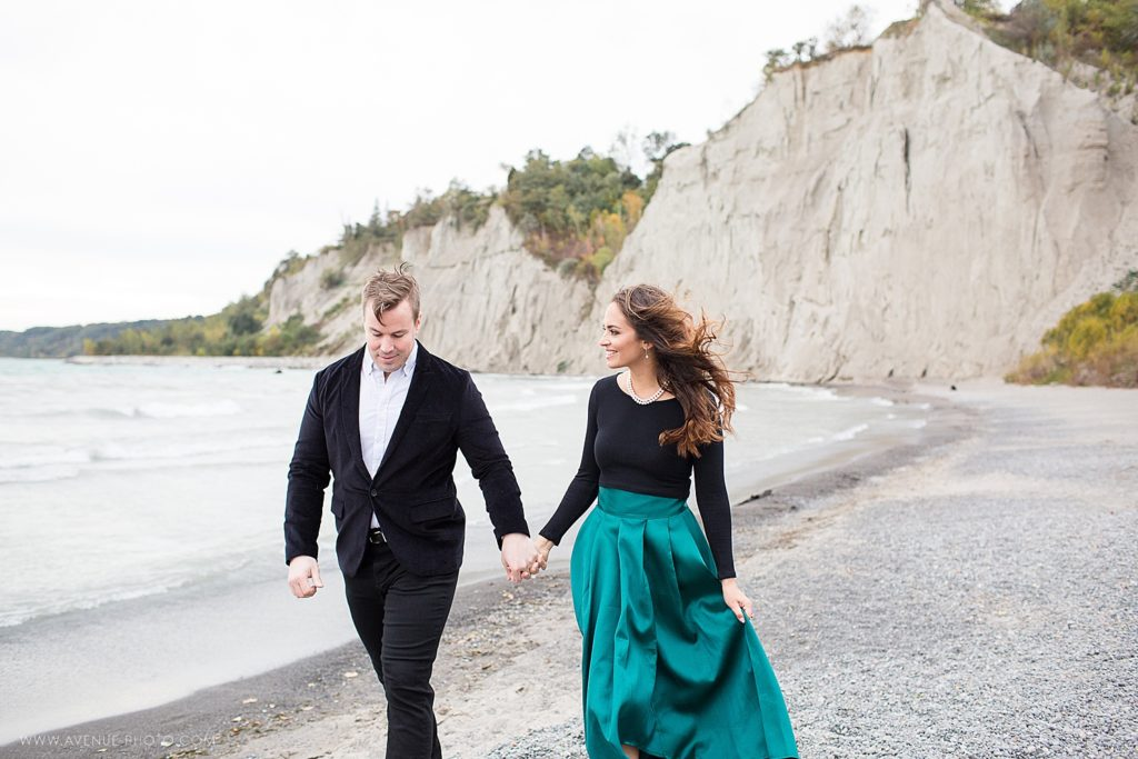 Scarborough Bluffs Engagement engaged couple walking